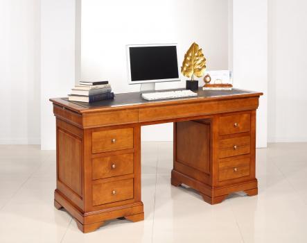Bureau Ministre 9 tiroirs   en Merisier Massif de style Louis Philippe  Surface d'écriture moleskine noire