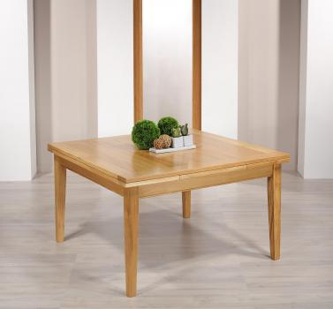 Table de Campagne carrée 135x135  en Chêne Massif 2 allonges de 40 cm 1 DISPONIBLE