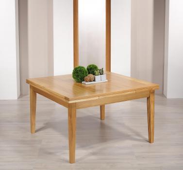Table de Campagne carrée 135x135  en Chêne Massif 2 allonges de 40 cm