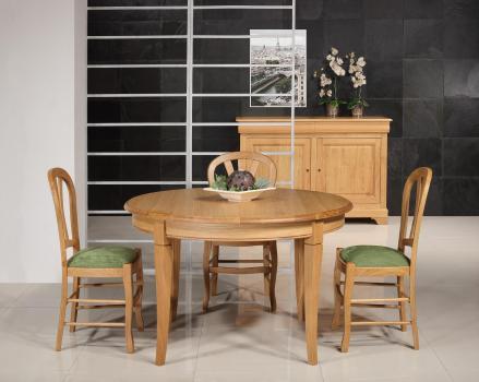 Table ronde 4 pieds Marc-Antoine réalisée en Chêne Massif de style Louis Philippe Diamètre 110 cm