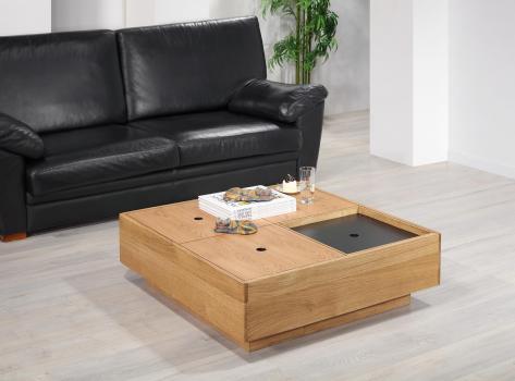 Table basse carrée 90x90 en Chêne de Ligne contemporaine, coffres rangements SEULEMENT 1 DISPONIBLE