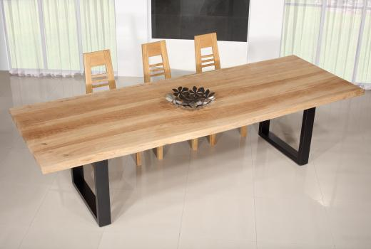 Table de repas fer et chêne massif 300x100 Epaisseur de la planche 45 cm Pièce unique