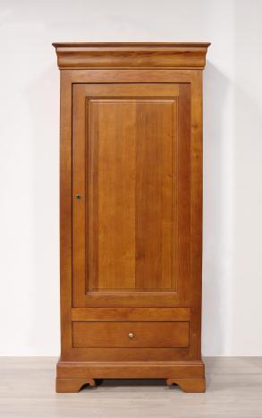 Bonnetière 1 porte 1 tiroir Louis  en chêne massif de style Louis Philippe Finition Chêne Moyen (Seulement 1 disponible Pas de réassort possible)