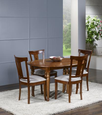 Table ovale à volets Clarisse 135x110  en Merisier Massif de style Louis Philippe avec 6 allonges de 40 cm