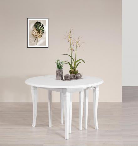 Table ronde à volets diamètre 120  en Chêne massif de style Louis Philippe 10 allonges de 40 cm (24 personnes) Finition Chêne Brossé Ivoire SEULEMENT 1 DISPONIBLE