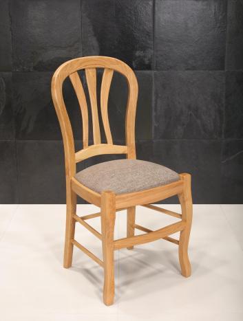 Chaise   en chêne massif de style Louis Philippe Assise tissu d'ameublement