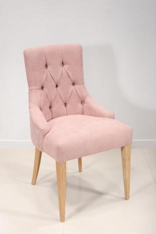 Chaise de séjour Capitonnée 4 pieds en Chêne Massif Tissu rose