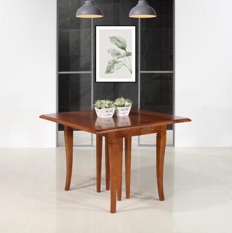 Table carrée à volets Giulia 105x105  en merisier de style Louis Philippe 6 allonges de 40 cm  345x105  14 à 16 personnes