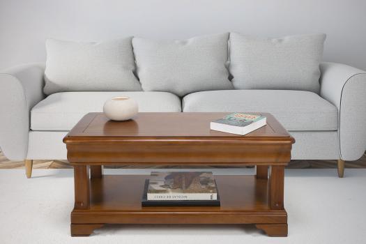 Table basse   en Merisier de style Louis Philippe 1 tiroir de chaque côté Longueur 100 cm