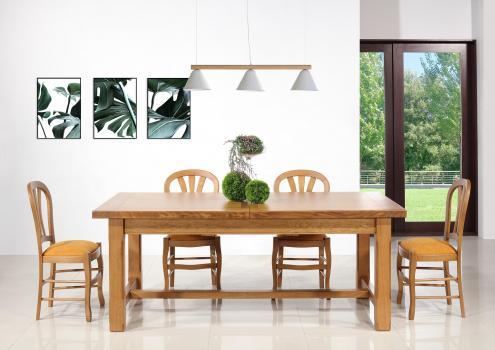Table de Ferme Axel réalisée en Chêne Massif 200x100 + 2 allonges de 45 cm Pieds Chanfreins Finition Chêne Doré SEULEMENT 1 DISPONBLE