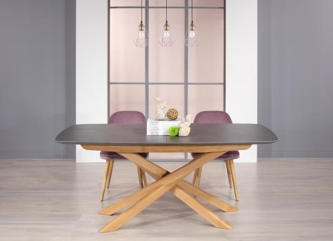 Table rectangulaire Stéphane  en Merisier pour le pieds céramique pour le plateau et l'allonge.