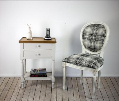 Table de téléphone   en Merisier de style Louis Philippe Gris perle