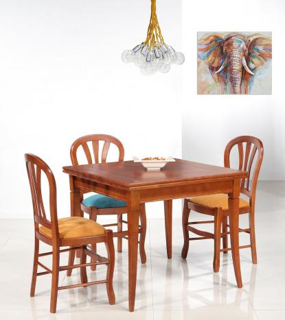Table de salle à manger Carrée Léonnie 90x90 en merisier de style Louis Philippe Double Plateau