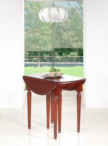 Table ronde à volets Justine  en Merisier Massif de style Louis XVI 6 pieds 3 allonges DIAMETRE 90 cm SEULEMENT 1 DISPONIBLE