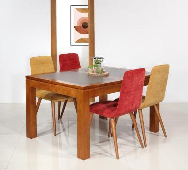 Table de repas Aurore  en Merisier Massif Contemporaine Plateau céramique 140x140 + 2 allonges intégrées de 40 cm