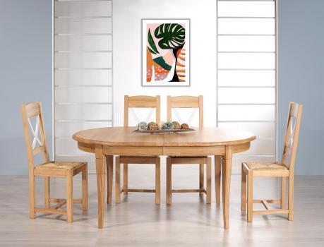 Table ovale 170x110 Mona  en Chêne massif de style Louis Philippe avec 2 allonges de 40 cm  Finition Chêne Naturel  SEULEMENT 1 DISPONIBLE