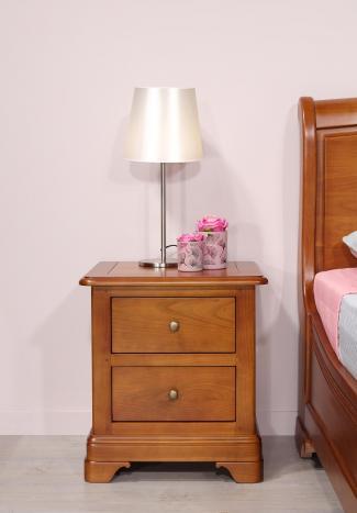 Chevet 2 tiroirs Camille  en Merisier Massif de style Louis Philippe