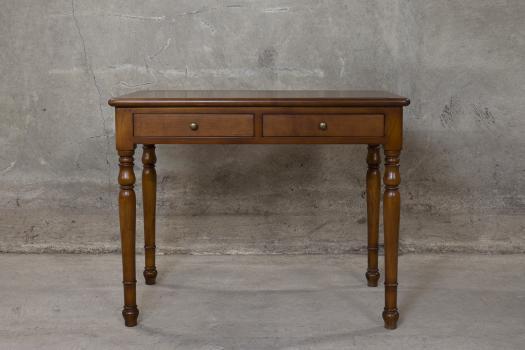 Table d'écriture 2 tiroirs e  en Merisier de style Louis Philippe Finition Doré soutenu Patine antiquaire (léger vieillissement du bois)  SEULEMENT 1 DISPONIBLE