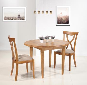 Table ronde à volets Simon  en Chêne Massif de style Louis Philippe Diamètre 105 avec ses 2 allonges de 40 cm