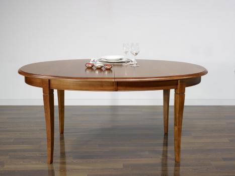 Table Ovale de salle à manger Estelle, réalisée en Merisier Massif de style Louis Philippe 170*110 - 2 allonges de 40 cm