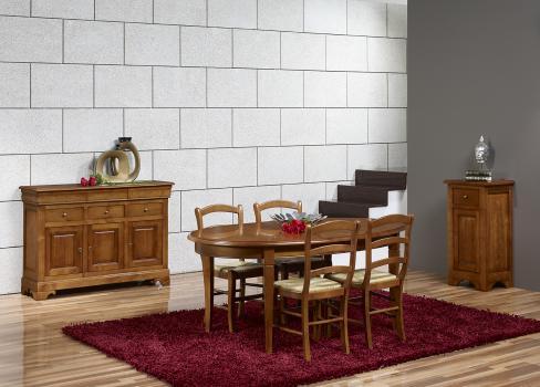 Table Ovale de salle à manger Estelle, réalisée en Merisier Massif de style Louis Philippe 135x110 + 2 allonges de 40 cm