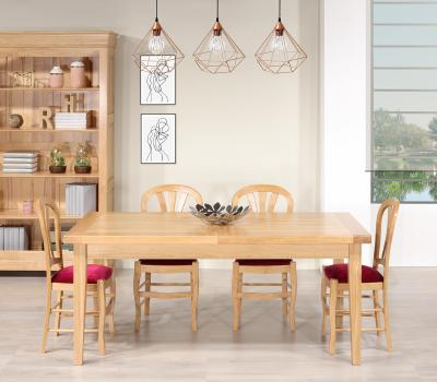 Table de Ferme Rectangulaire François  en Chêne massif  180*90 + 2 allonges de 45 cm Finition Chêne naturel