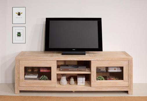 Meuble TV 2 portes vitrées Loann  en chêne massif de style Contemporain