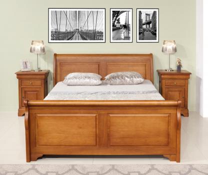 Lit Bateau 160x200 Jean  en Chêne Massif de style Louis Philippe Campagnard Avec 1 tiroir de chaque côté