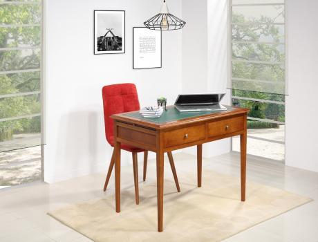 Table d'écriture  en Merisier de style Louis Philippe Surface d'écriture recouverte d'une moleskine verte SEULEMENT 1 DISPONIBLE