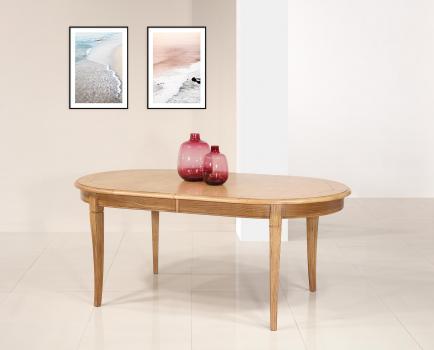 Table ovale Christophe 180*100  en Chêne Massif de style Louis Philippe 2 allonges incorporées de 40 cm Plateau marqueté DISPONIBLE 1 SEULEMENT