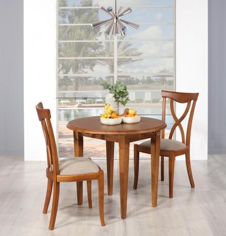 Table ronde à volets diamètre 90 en chêne massif de style Louis Philippe 2 allonges de 40 cm Finition Chêne Moyen