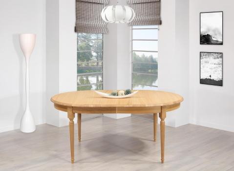 Table ovale 180x120  en Chêne Massif de style Louis XVI 2 allonges de 39 cm Ouverture du plateau synchronisée  SEULEMENT 1 DISPONIBLE