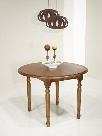Table ronde à volets Simon  en Chêne Massif de style Louis Philippe DIAMETRE 100 avec 2 ALLONGES DE 40 CM