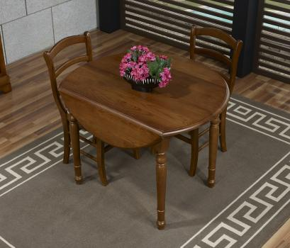 Table ronde à volets Simon  en Chêne Massif de style Louis Philippe Diamètre 100 + 2 allonges de 40 cm
