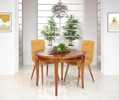 Table ronde 4 pieds sabres Camille, réalisée en merisier massif de style Louis Philippe DIAM.110 +  2 allonges de 40 cm