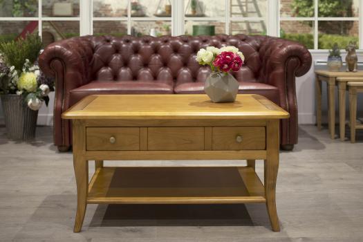 Table Basse rectangulaire Alba  en merisier de style Louis Philippe Finition merisier Blond légèrement patiné
