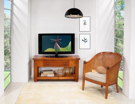 Meuble TV Adéline spécial écran plat en MERISIER de style Campagne Largeur 110 cm SEULEMENT 1 DISPONIBLE