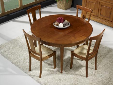 Table ronde 4 pieds Célio réalisée en Chêne de style Louis Philippe DIAMETRE 130 - 1 ALLONGE INCORPOREE