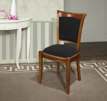 Chaise ine en Merisier Massif de style Louis Philippe Moleskine Noire