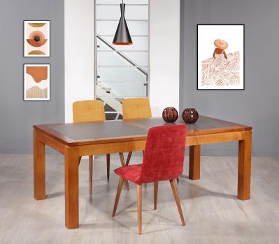 Table de repas aurore réalisée en merisier massif contemporaine plateau céramique largeur 200 cm seulement 1 disponible
