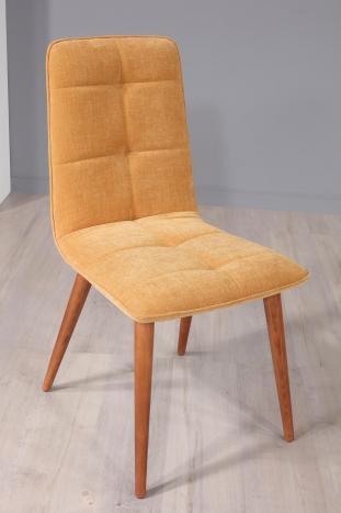 Chaise Lise en tissu 4 en hêtre massif Tissu d'ameublement Moutarde