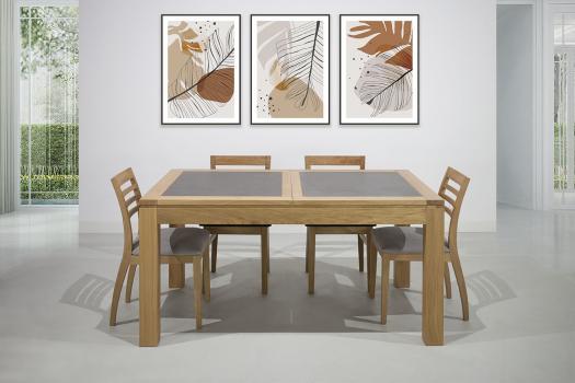 Table de repas rectangulaire 160X100 Mathéo  en Chêne Ligne Contemporaine Plateau avec céramique Finition traditionnell