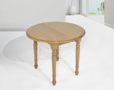 Table ronde à volets diamètre 90 en chêne massif de style Louis Philippe 2 allonges de 40 cm SEULEMENT 1 DISPONIBLE