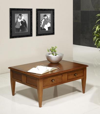 Table Basse rectangulaire 100x80  en merisier de style Directoire
