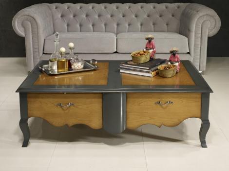 Massif Réalisée Louis Rectangulaire Style Table MerisierMeuble Xv Basse ZoéDe En sCtrhQd