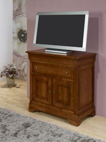 Meuble TV 2 portes   en Merisier Massif de style Louis Philippe