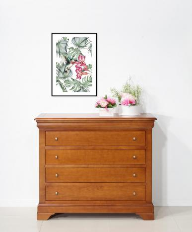 Commode 4 tiroirs  en Merisier de style Louis Philippe LONGUEUR 112 cm