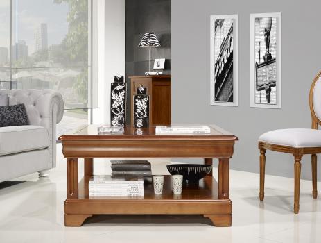 Table basse carrée   en Merisier de style Louis Philippe