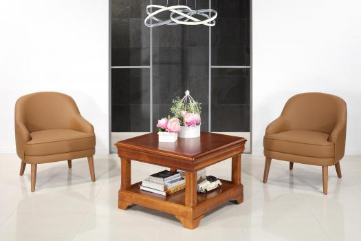 Table basse carrée Anaîs  en Merisier de style Louis Philippe 80x80