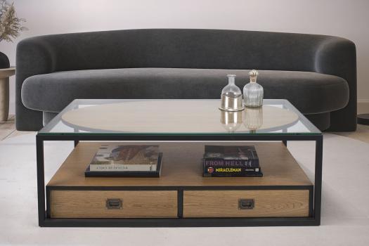 Table Basse Robin  en Chêne  fer et plateau verre et  2 tiroirs va-et-vient
